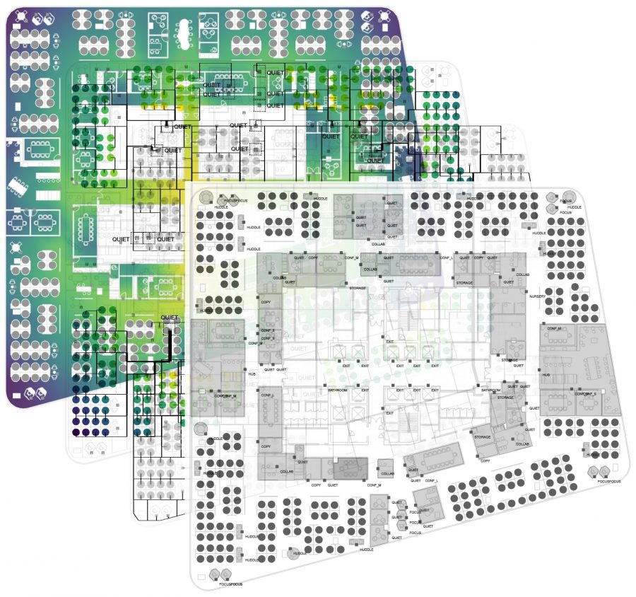 plan of woods bagot superspace to optimise workplace design