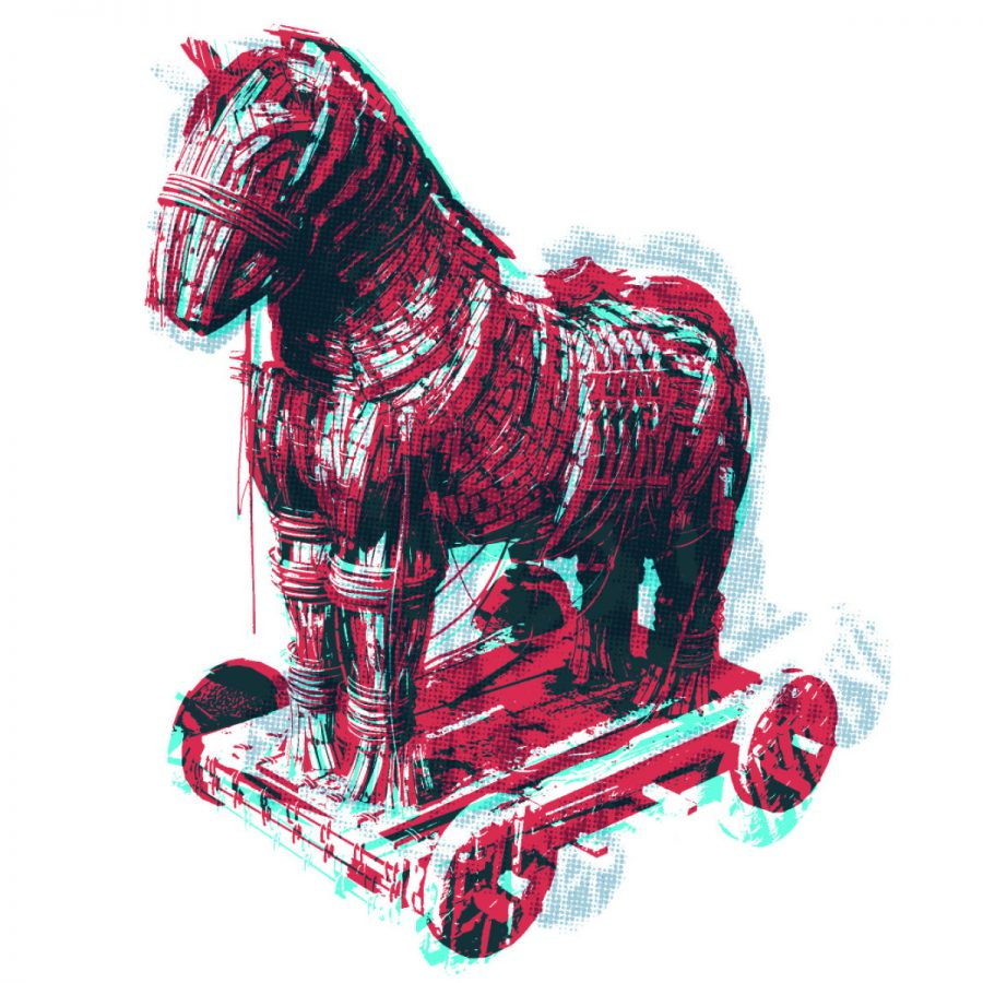 illustration of a horse on wheels